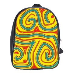 Colorful Decorative Lines School Bags(large)  by Valentinaart