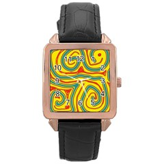 Colorful Decorative Lines Rose Gold Leather Watch  by Valentinaart