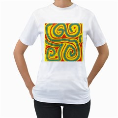 Colorful Decorative Lines Women s T Shirt (white)  by Valentinaart