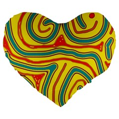 Colorful Decorative Lines Large 19  Premium Flano Heart Shape Cushions by Valentinaart