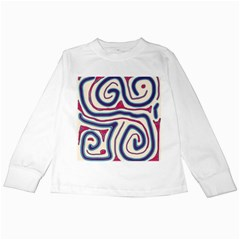 Blue And Red Lines Kids Long Sleeve T Shirts by Valentinaart
