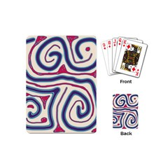 Blue And Red Lines Playing Cards (mini)  by Valentinaart