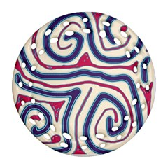 Blue and red lines Round Filigree Ornament (2Side) by Valentinaart
