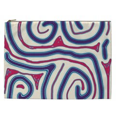 Blue And Red Lines Cosmetic Bag (xxl)  by Valentinaart