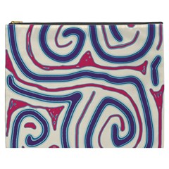 Blue And Red Lines Cosmetic Bag (xxxl)  by Valentinaart