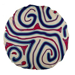 Blue And Red Lines Large 18  Premium Flano Round Cushions by Valentinaart