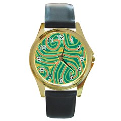 Green And Orange Lines Round Gold Metal Watch by Valentinaart