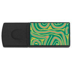 Green And Orange Lines Usb Flash Drive Rectangular (4 Gb)  by Valentinaart