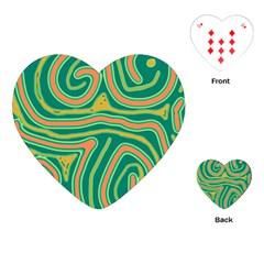 Green And Orange Lines Playing Cards (heart)  by Valentinaart