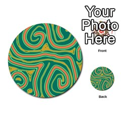 Green And Orange Lines Multi Purpose Cards (round)