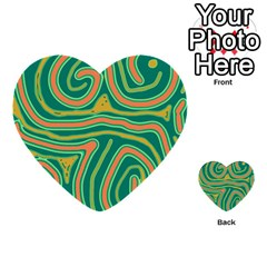 Green And Orange Lines Multi Purpose Cards (heart)  by Valentinaart