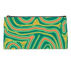 Green And Orange Lines Pencil Cases by Valentinaart