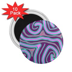 Purple Lines 2 25  Magnets (10 Pack)  by Valentinaart