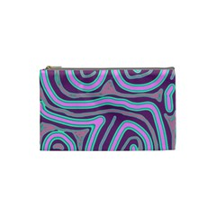 Purple Lines Cosmetic Bag (small)  by Valentinaart