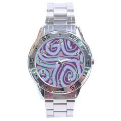 Purple Lines Stainless Steel Analogue Watch by Valentinaart