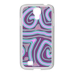 Purple Lines Samsung Galaxy S4 I9500/ I9505 Case (white) by Valentinaart