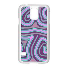 Purple Lines Samsung Galaxy S5 Case (white) by Valentinaart