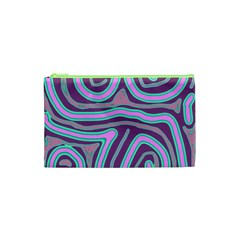 Purple Lines Cosmetic Bag (xs) by Valentinaart