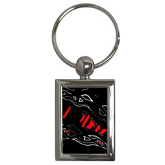 Black And Red Artistic Abstraction Key Chains (rectangle)  by Valentinaart