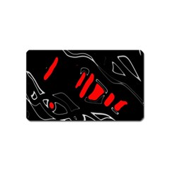 Black And Red Artistic Abstraction Magnet (name Card) by Valentinaart