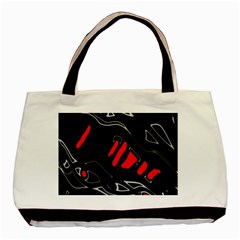 Black And Red Artistic Abstraction Basic Tote Bag by Valentinaart