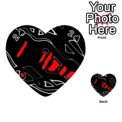 Black And Red Artistic Abstraction Playing Cards 54 (heart)  by Valentinaart