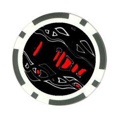Black And Red Artistic Abstraction Poker Chip Card Guards by Valentinaart