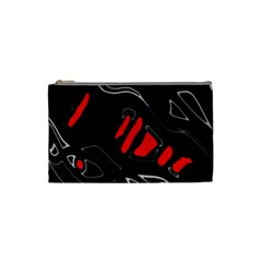 Black And Red Artistic Abstraction Cosmetic Bag (small)  by Valentinaart