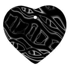 Black And White Decorative Design Heart Ornament (2 Sides) by Valentinaart