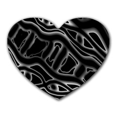 Black And White Decorative Design Heart Mousepads by Valentinaart