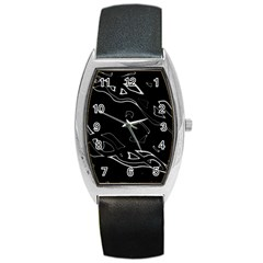 Black And White Barrel Style Metal Watch by Valentinaart
