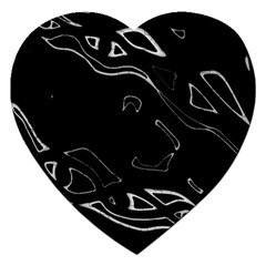 Black And White Jigsaw Puzzle (heart) by Valentinaart