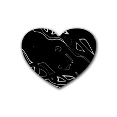 Black And White Heart Coaster (4 Pack)  by Valentinaart