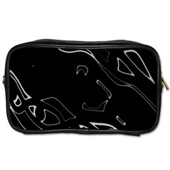 Black And White Toiletries Bags by Valentinaart