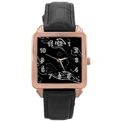 Black And White Rose Gold Leather Watch  by Valentinaart