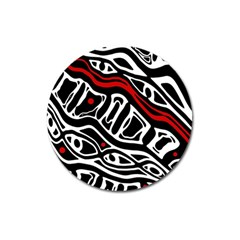 Red, Black And White Abstract Art Magnet 3  (round) by Valentinaart