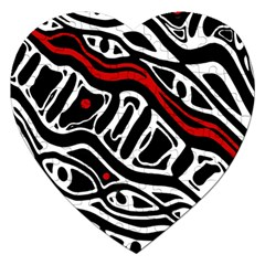Red, Black And White Abstract Art Jigsaw Puzzle (heart) by Valentinaart