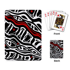 Red, Black And White Abstract Art Playing Card by Valentinaart
