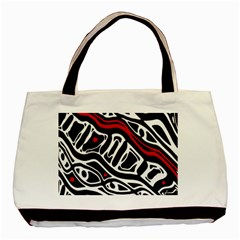 Red, Black And White Abstract Art Basic Tote Bag (two Sides) by Valentinaart