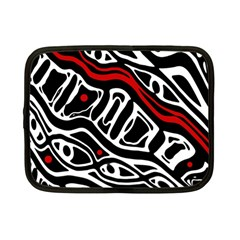 Red, Black And White Abstract Art Netbook Case (small)  by Valentinaart