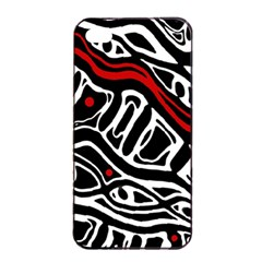 Red, Black And White Abstract Art Apple Iphone 4/4s Seamless Case (black) by Valentinaart