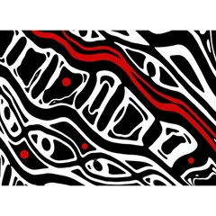 Red, Black And White Abstract Art Birthday Cake 3d Greeting Card (7x5)