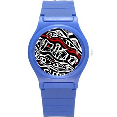Red, Black And White Abstract Art Round Plastic Sport Watch (s) by Valentinaart