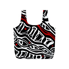 Red, Black And White Abstract Art Full Print Recycle Bags (s)  by Valentinaart