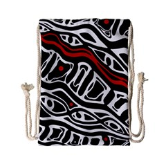 Red, Black And White Abstract Art Drawstring Bag (small) by Valentinaart