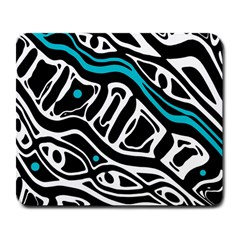 Blue, Black And White Abstract Art Large Mousepads by Valentinaart