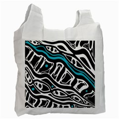 Blue, Black And White Abstract Art Recycle Bag (two Side)  by Valentinaart