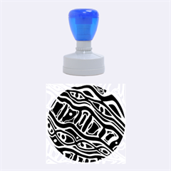 Blue, Black And White Abstract Art Rubber Round Stamps (medium) by Valentinaart