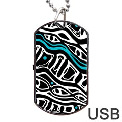 Blue, Black And White Abstract Art Dog Tag Usb Flash (one Side) by Valentinaart