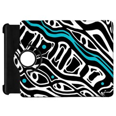 Blue, black and white abstract art Kindle Fire HD Flip 360 Case by Valentinaart